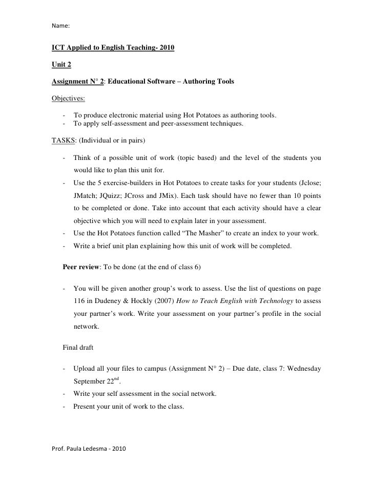 Name:   ICT Applied to English Teaching- 2010  Unit 2  Assignment N° 2: Educational Software – Authoring Tools  Objectives...