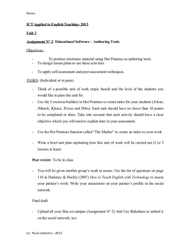 Name:ICT Applied to English Teaching- 2013Unit 2Assignment N° 2: Educational Software – Authoring ToolsObjectives:- To pro...