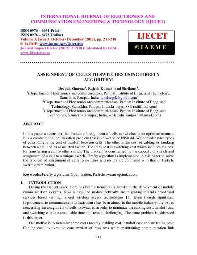 InternationalINTERNATIONAL Communication Engineering & Technology (IJECET), ISSN 0976 –                   Journal of Elect...