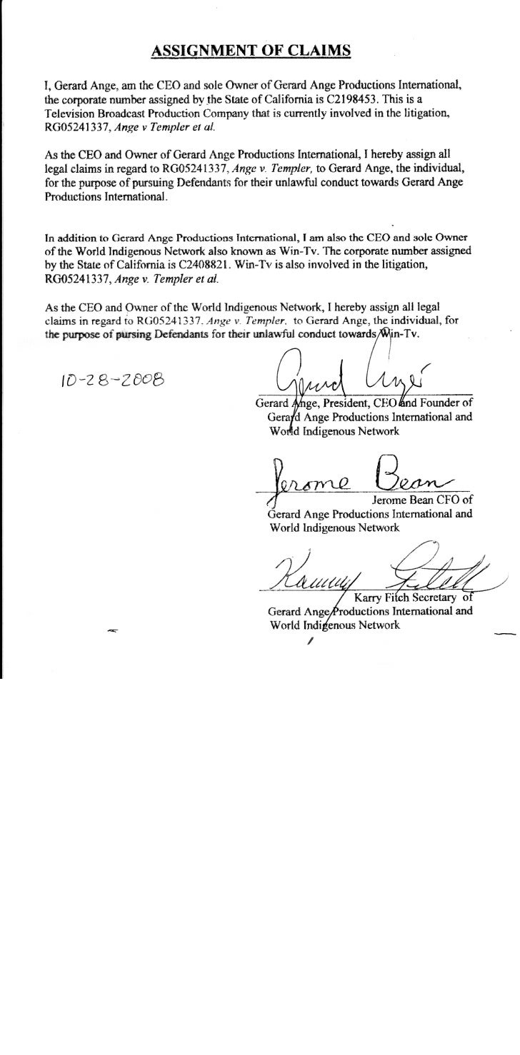 SECOND > GAP & WINTV SIGNED CORPORATE ASSIGNMENTS BY Higginbotham10-28-2008