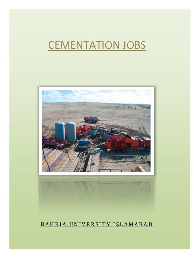 CEMENTATION JOBS  BAHRIA UNIVERSITY ISLAMABAD