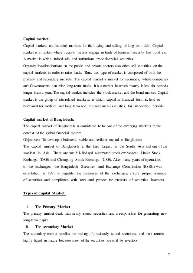 capital market of bangladesh term paper General insurance business of bangladesh in the financial market as well as capital market chapter- 02 body of the term paper.