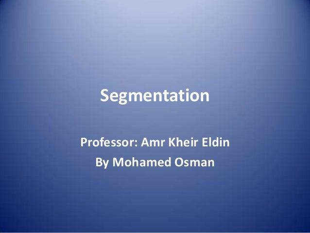Segmentation Professor: Amr Kheir Eldin By Mohamed Osman