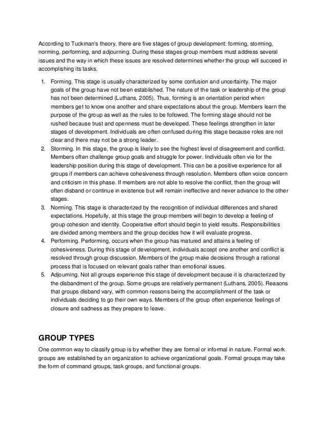 Reflective essay on group dynamics