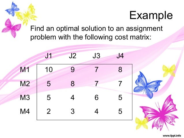 Assignment problem solution
