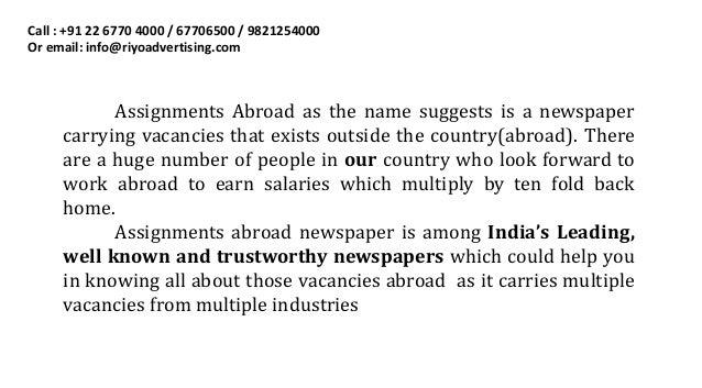 Overseas assignment newspaper