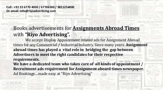 Assignments abroad times news - msbrokercom