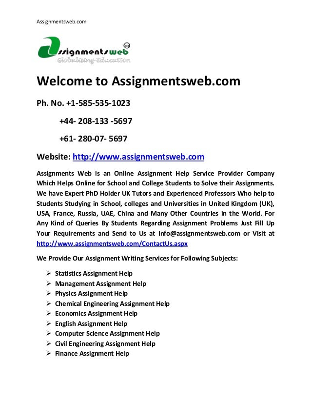 assignment help tutors Students find out the online tutor on science subjects, math, social science, english, economics, finance, marketing, computer science and engineering you can ask any question regarding your subjects and their related problems.