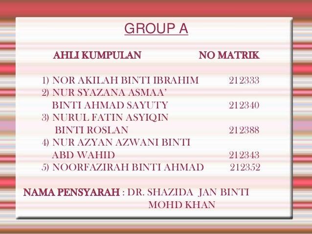 GROUP A AHLI KUMPULAN  NO MATRIK  1) NOR AKILAH BINTI IBRAHIM 2) NUR SYAZANA ASMAA' BINTI AHMAD SAYUTY 3) NURUL FATIN ASYI...
