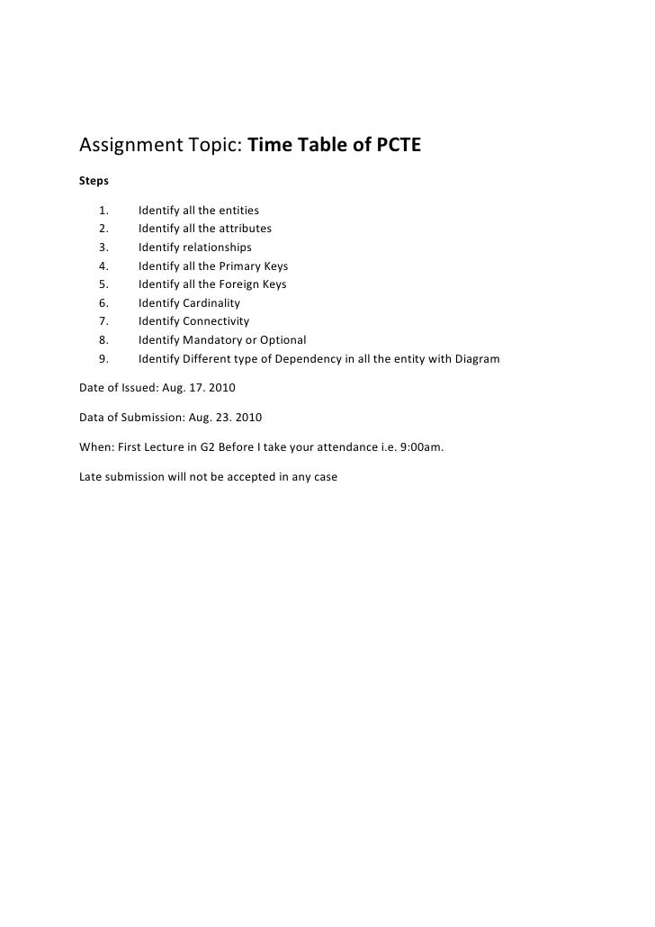 Assignment Topic: Time Table of PCTE<br />Steps<br /><ul><li>Identify all the entities
