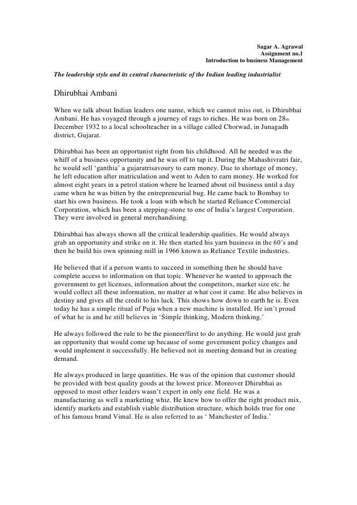 Dhirubhai Ambani leadership style