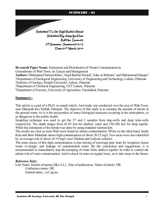 Institute Of Geology, University Of The Punjab 1 SUMMARY - 01 Re-search Paper Name: Estimation and Distribution of Nitrate...