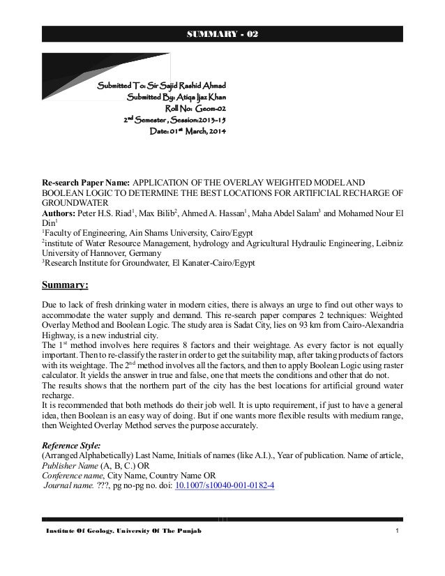 Institute Of Geology, University Of The Punjab 1 SUMMARY - 02 Re-search Paper Name: APPLICATION OF THE OVERLAY WEIGHTED MO...