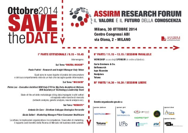 0ttobre2014 SAVE theDATE Milano, 30 OTTOBRE 2014 Centro Congressi ABI via Olona, 2 - MILANO I° PARTE ISTITUZIONALE / 9.15 ...
