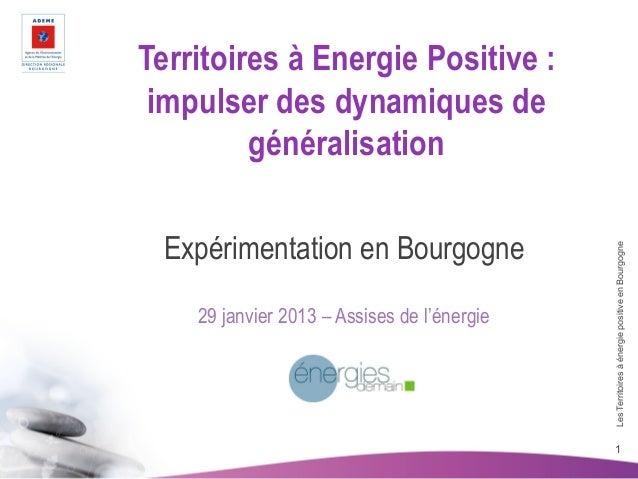 Territoires à Energie Positive : impulser des dynamiques de         généralisation  Expérimentation en Bourgogne          ...