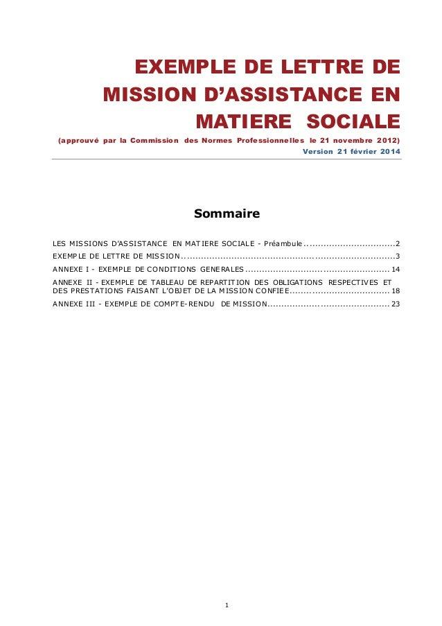 1 EXEMPLE DE LETTRE DE MISSION D'ASSISTANCE EN MATIERE SOCIALE (approuvé par la Commission des Normes Professionnelles le ...