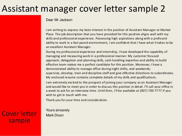 Job application letter for the post of assistant manager