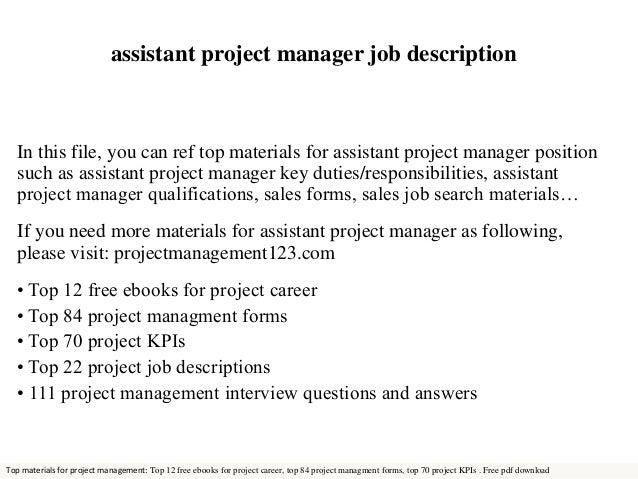 job description project manager assistant project manager job ...