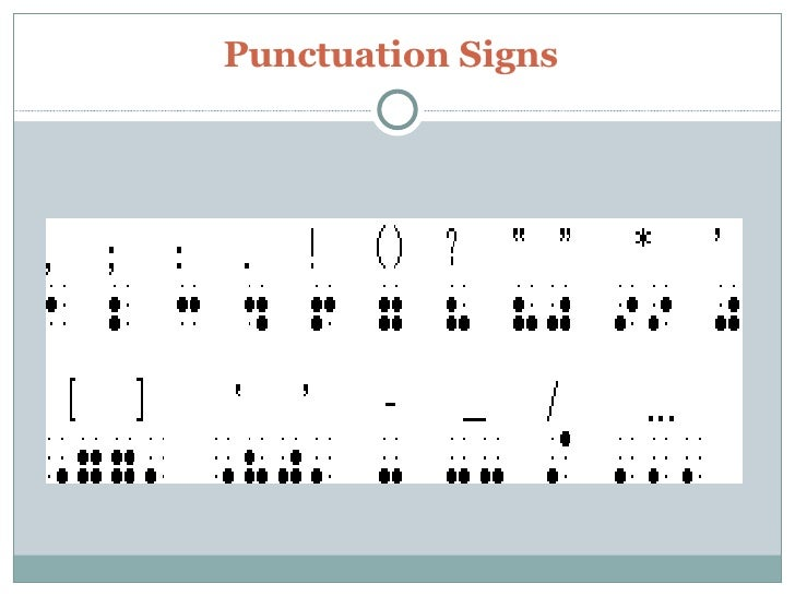 Braille Punctuation
