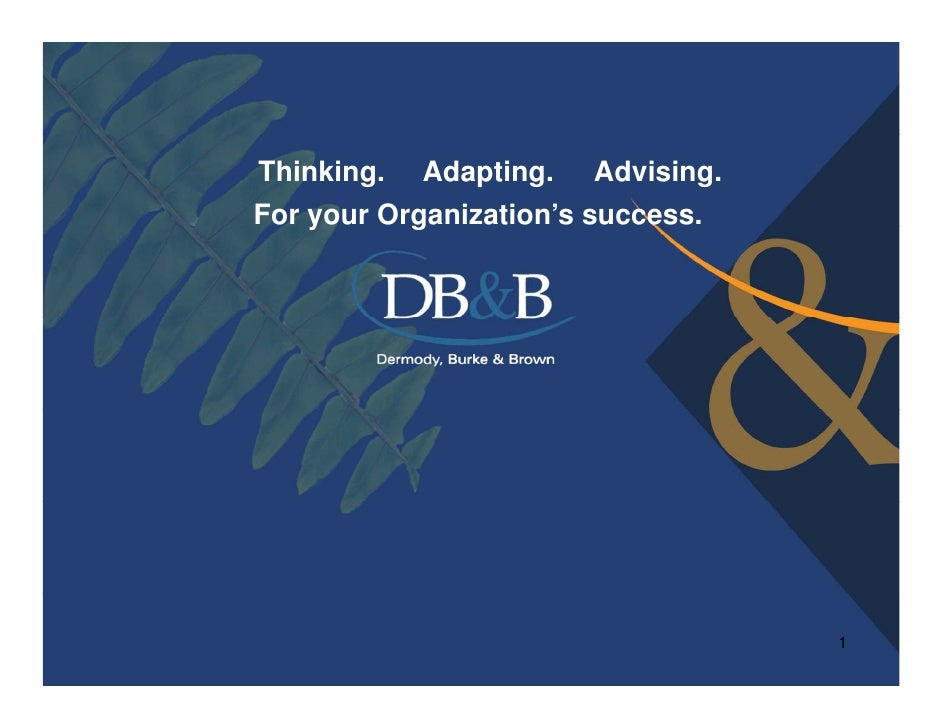 Thinking. Adapting. Advising.For your Organization's success.    y      g                                   1