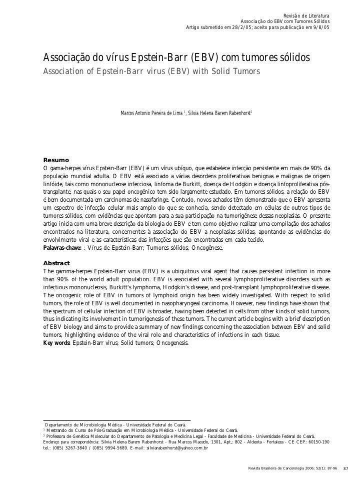 Associação do vírus epstein barr (ebv) com tumores sólidos