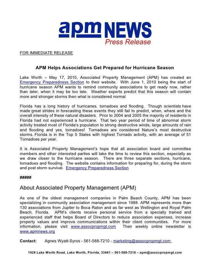 FOR IMMEDIATE RELEASE           APM Helps Associations Get Prepared for Hurricane Season  Lake Worth – May 17, 2010, Assoc...