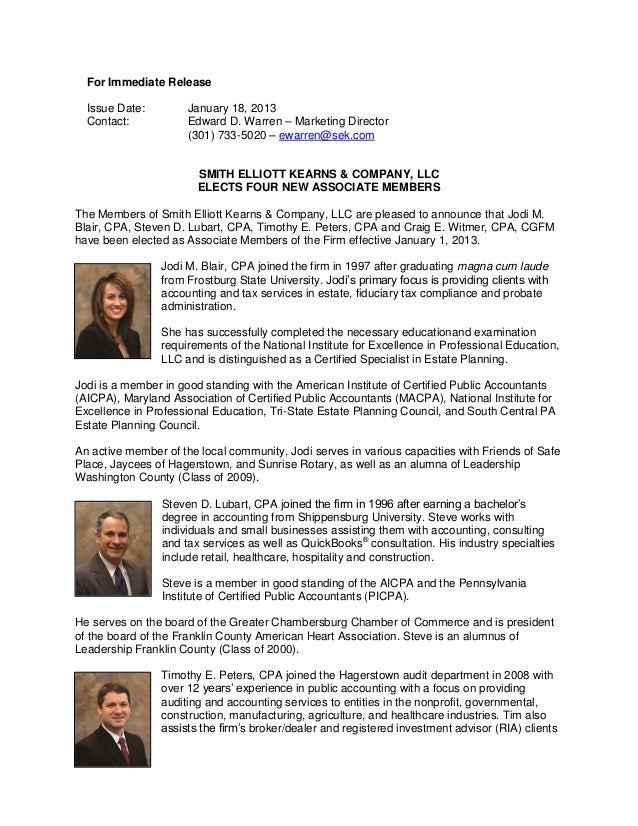 Associate member press release