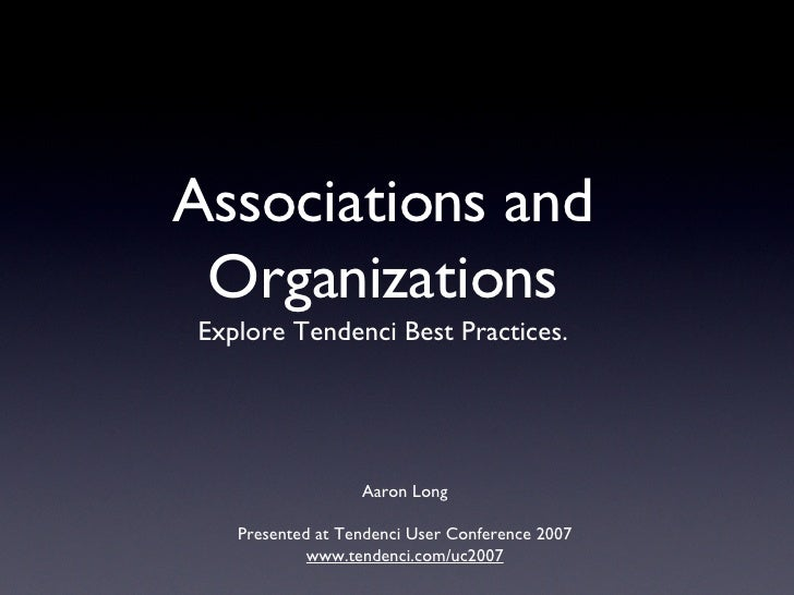 Association Online Best Practices with Tendenci