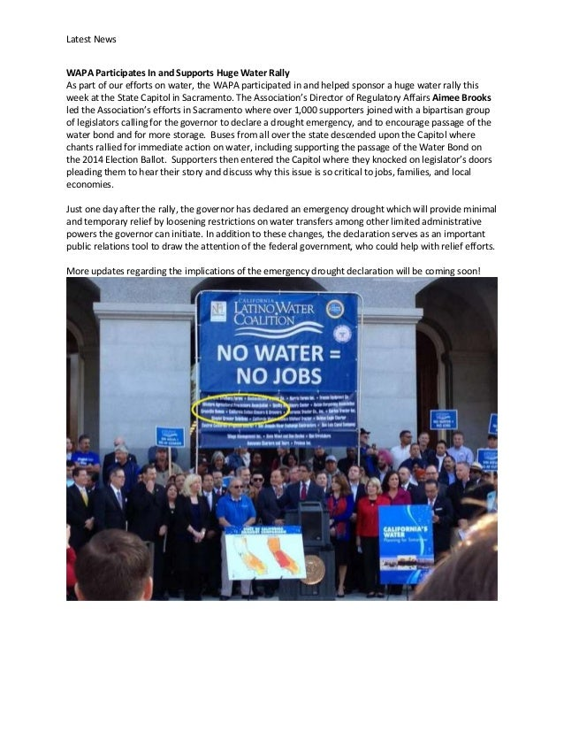 Latest News WAPA Participates In and Supports Huge Water Rally As part of our efforts on water, the WAPA participated in a...