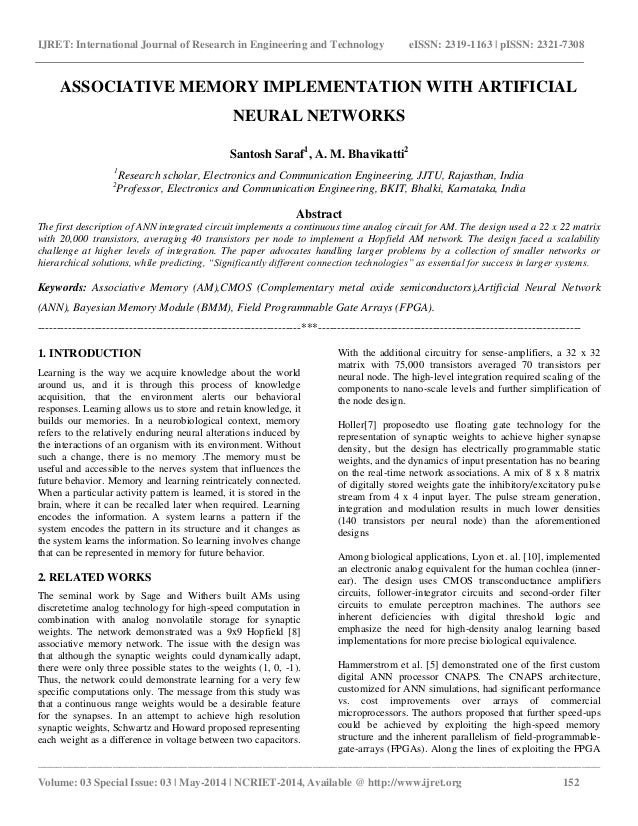 Associative memory implementation with artificial neural networks