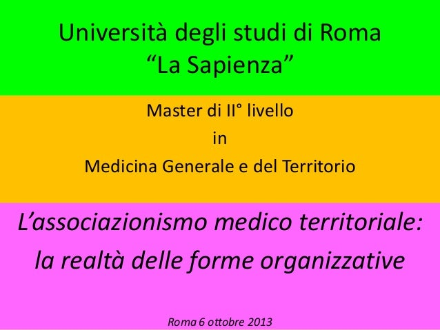 Associazionismo medico territoriale 2013