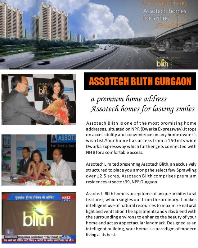 Assotech Blith 9810100059 Premium & affordable apartment at Dwarka Expressway Gurgaon