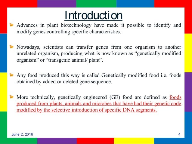 use of genetically modified food essay This sample genetically modified food research paper is published for educational and informational purposes only if you need help writing your assignment, please use our writing services.