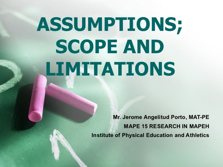 assumptions and hypotheses in thesis