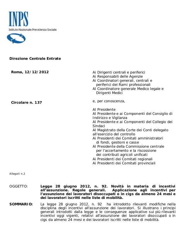 Direzione Centrale Entrate Roma, 12/12/2012                              Ai Dirigenti centrali e periferici               ...