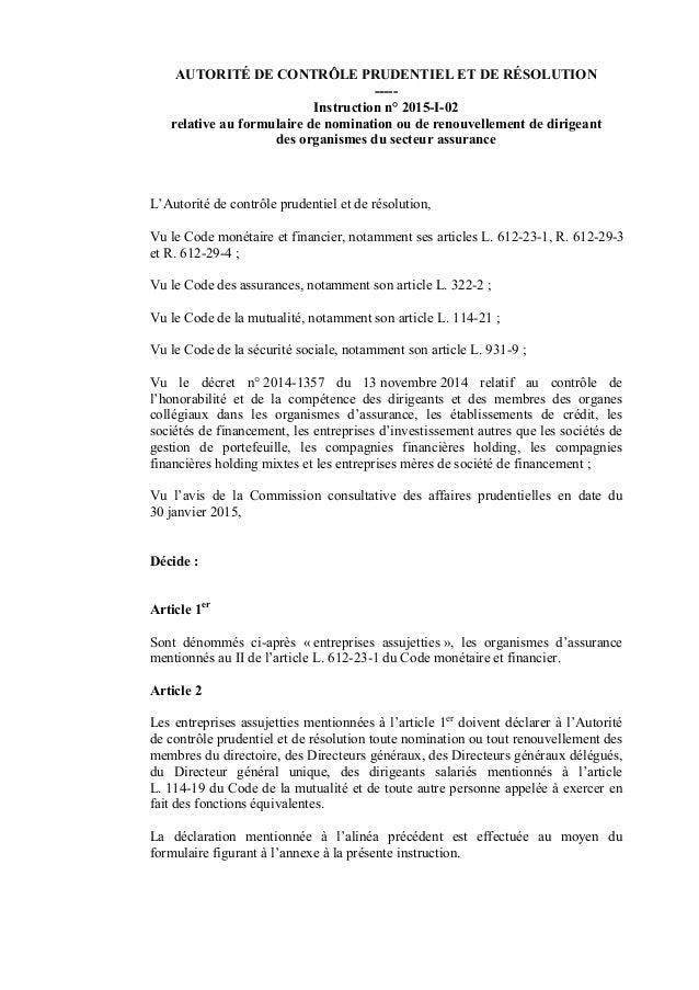 AUTORITÉ DE CONTRÔLE PRUDENTIEL ET DE RÉSOLUTION ----- Instruction n° 2015-I-02 relative au formulaire de nomination ou de...