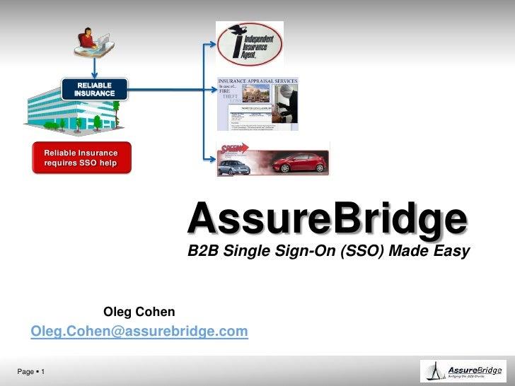AssureBridgeB2B Single Sign-On (SSO) Made Easy<br />Oleg Cohen<br />Oleg.Cohen@assurebridge.com<br />