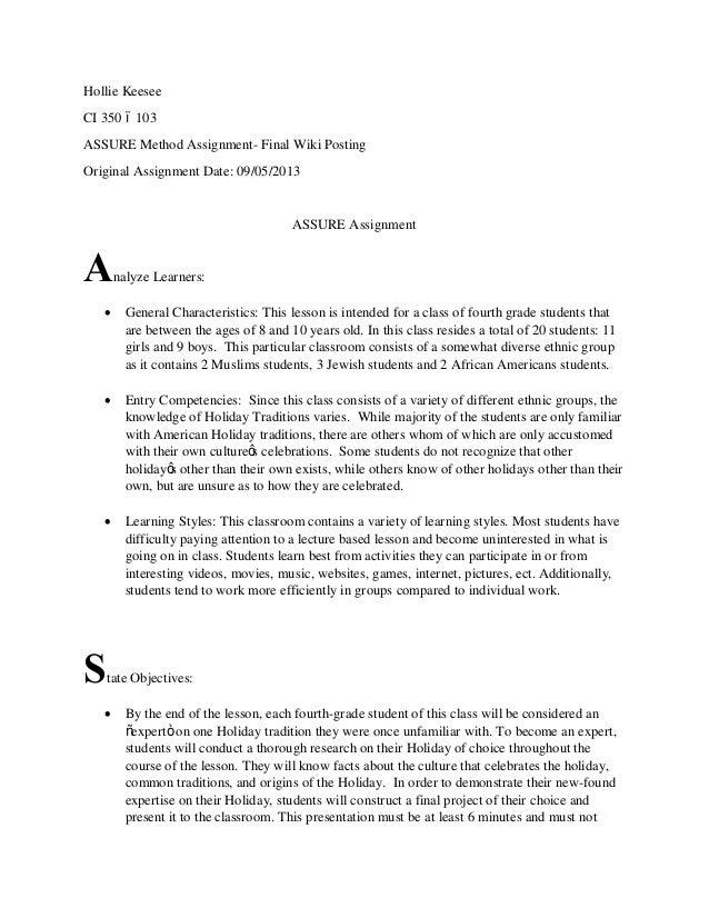 Assure method final wiki