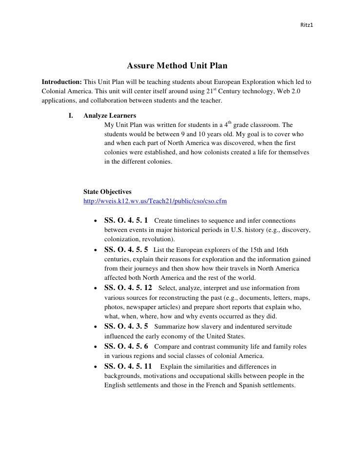 Assure Method Unit Plan Pdf 1
