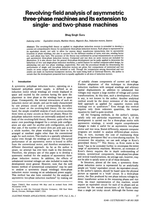 Revolving-field analysis of asymmetric           three-phase machines and its extension to               single- and two-p...