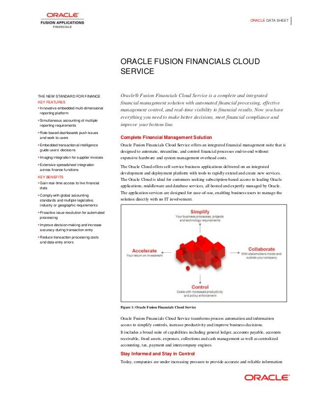 ORACLE DATA SHEET  ORACLE FUSION FINANCIALS CLOUD SERVICE  THE NEW STANDARD FOR FINANCE KEY FEATURES • Innovative embedded...