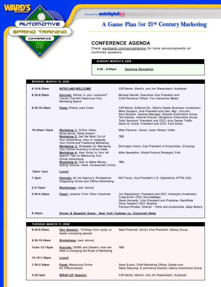 CONFERENCE AGENDA                                         Check wardsauto.com/springtraining for more announcements on    ...