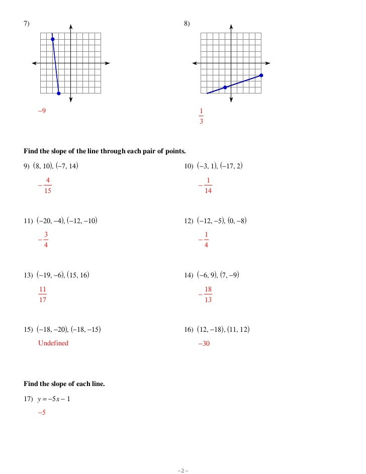 Finding slope 1 worksheet answers