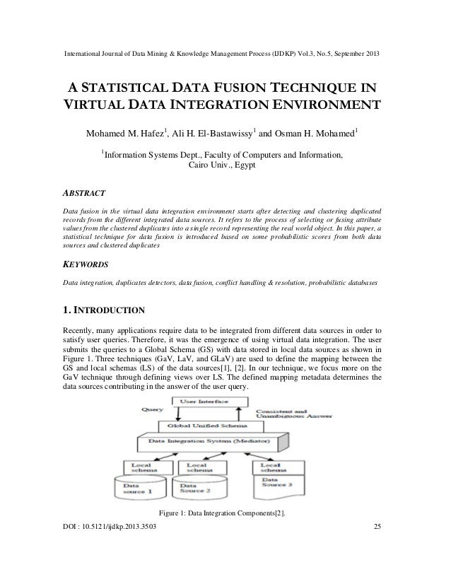 A statistical data fusion technique in virtual data integration environment