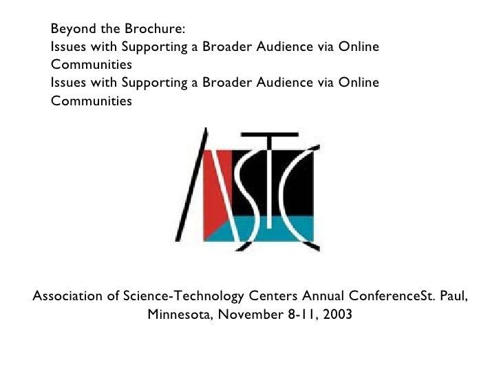Astc 2003 Online Community