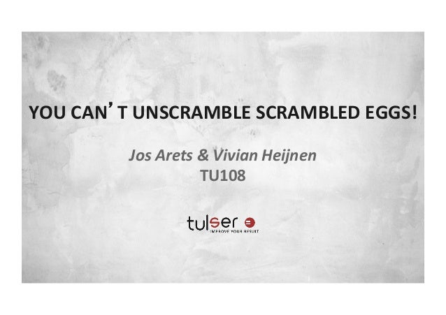 YOU	  CAN'T	  UNSCRAMBLE	  SCRAMBLED	  EGGS!	  	  Jos	  Arets	  &	  Vivian	  Heijnen	  TU108