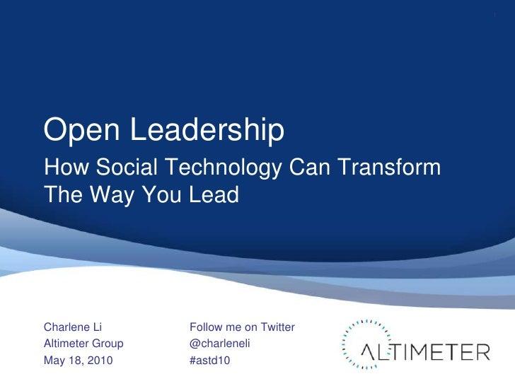 ASTD Keynote on Open Leadership