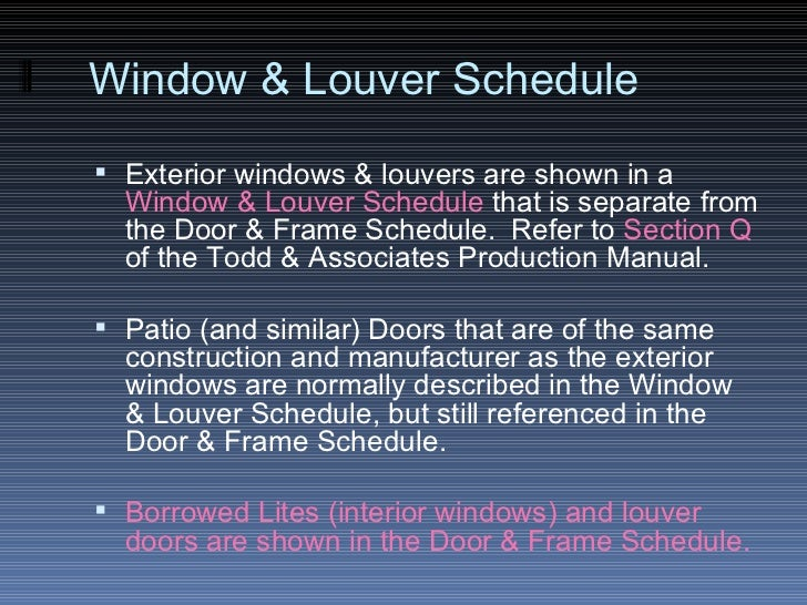 Door Schedule Drawing Window Louver Schedule
