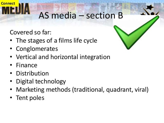 Covered so far: • The stages of a films life cycle • Conglomerates • Vertical and horizontal integration • Finance • Distr...