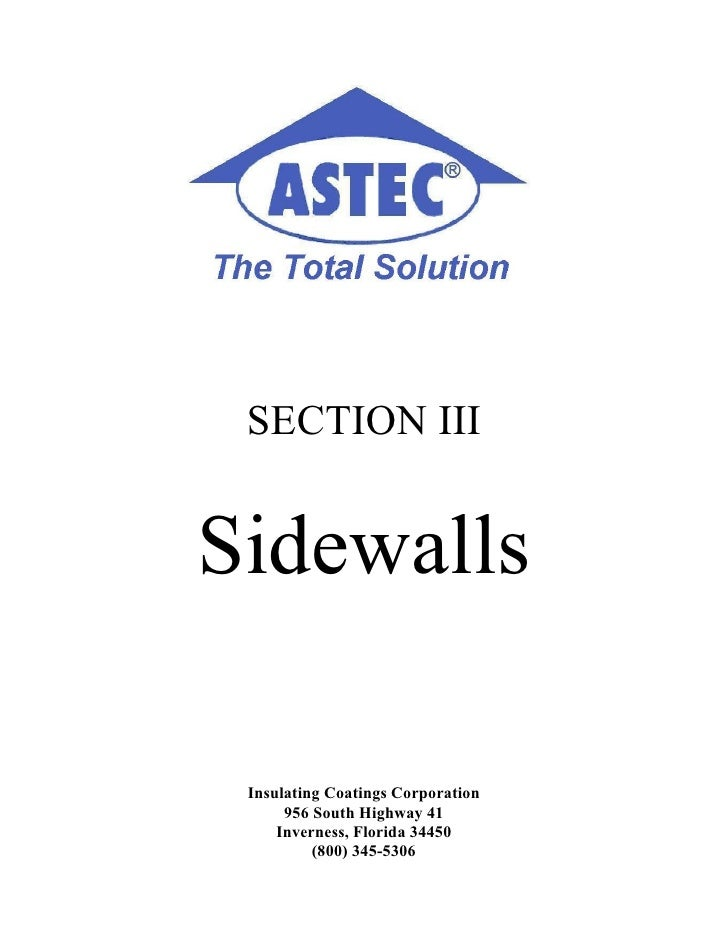 SECTION III   Sidewalls   Insulating Coatings Corporation       956 South Highway 41      Inverness, Florida 34450        ...